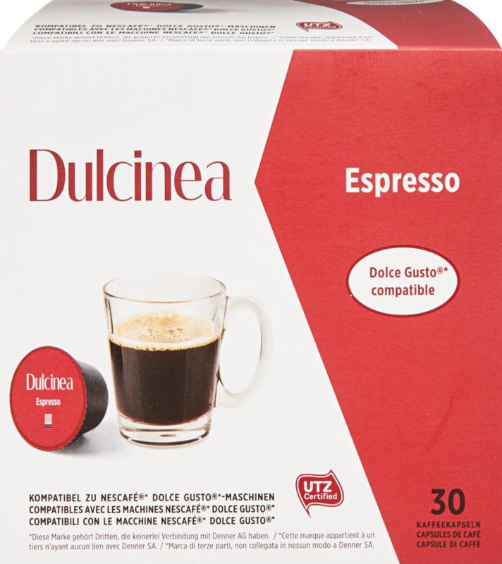 Dulcinea Kaffeekapseln Espresso, kompatibel zu Nescafé Dolce Gusto-Maschinen, 30 Kapseln