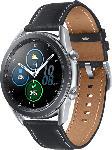 MediaMarkt SAMSUNG  Galaxy Watch 3 45 mm Bluetooth Smartwatch Edelstahl, Echtleder, Größe M/L (145 - 205 mm), Mystic Silver/Black