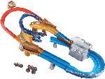MediaMarkt HOT WHEELS Monster Trucks Skorpion-Beschleuniger Rennbahn Set inklusive 2 Spielzeugautos, Mehrfarbig