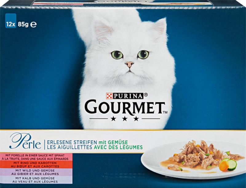 Nourriture pour chats Gourmet Perle Purina, Les aiguillettes avec des légumes, assorties, 2 x 12 x 85 g
