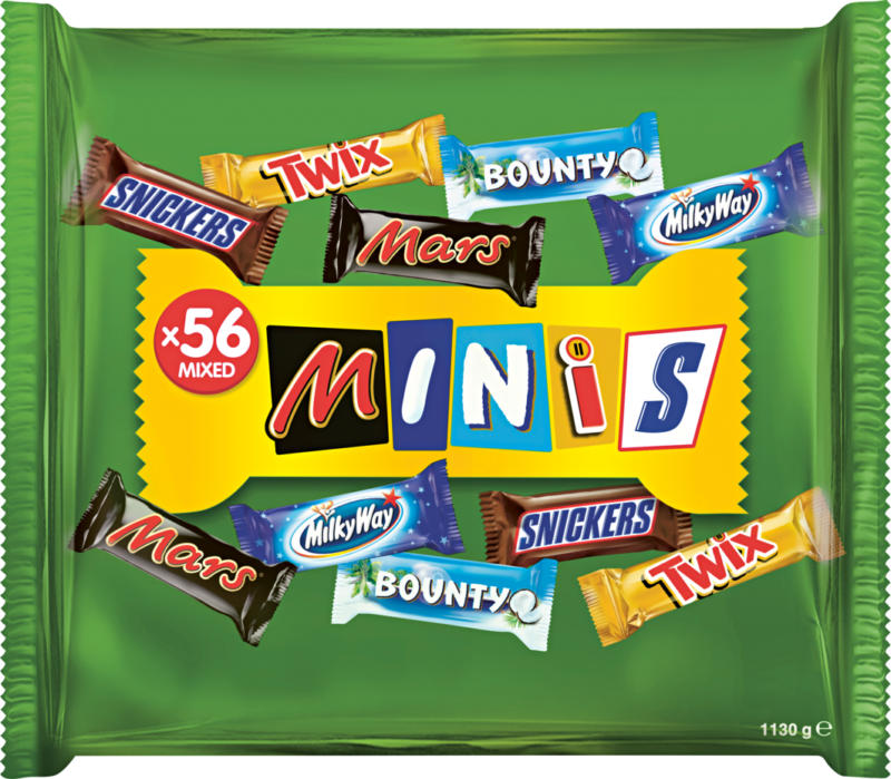 Barrette di cioccolato Mixed Minis , assortite: Bounty, Mars, Milky Way, Snickers, Twix, 1130 g