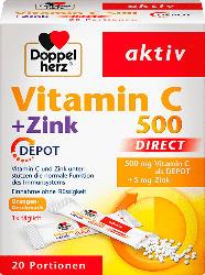 Doppelherz Vitamin C 500 mg + Zink direct Depot Direktgranulat 20 St.