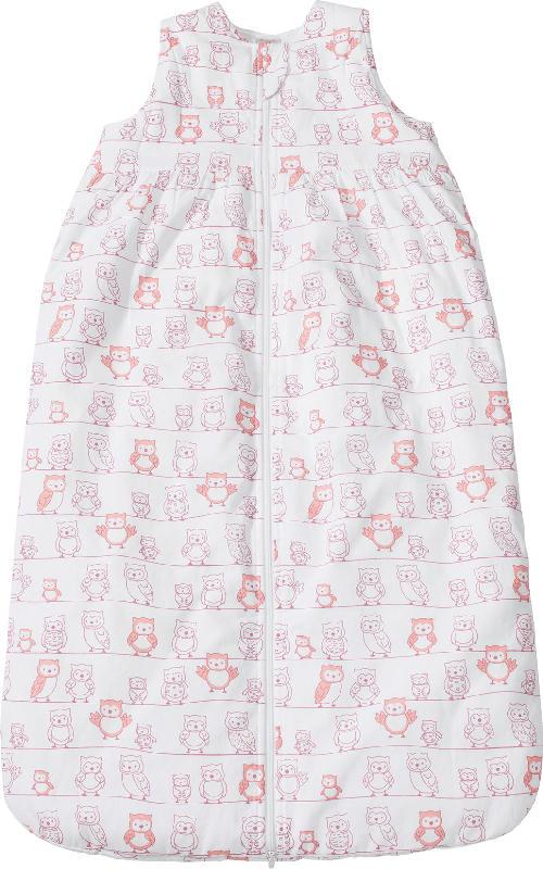 PUSBLU Kinder Web Schlafsack, 110 cm, in Bio-Baumwolle und recyceltem Polyester, weiß, rosa