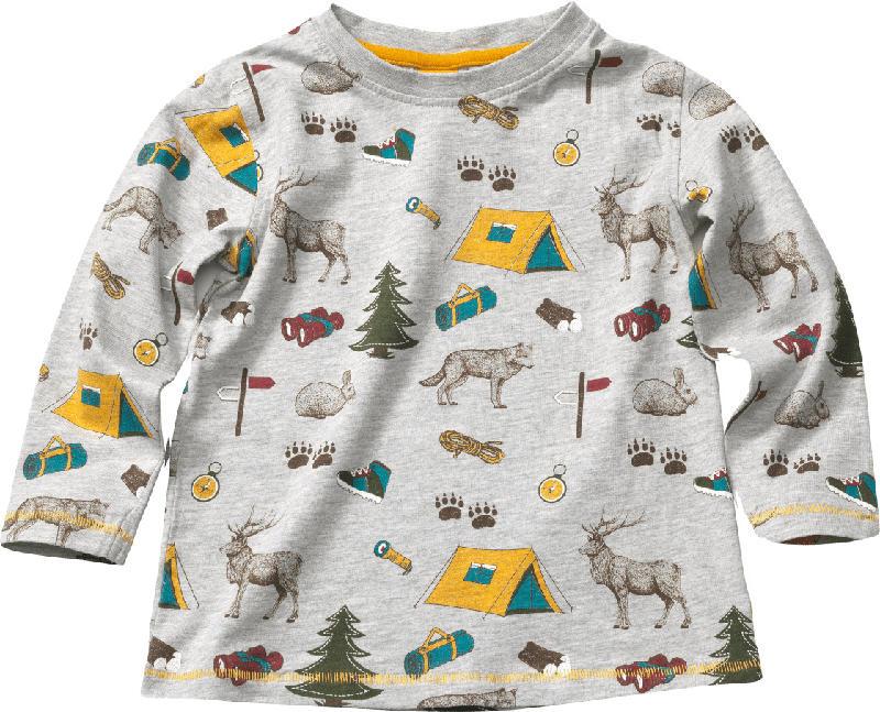 PUSBLU Kinder Langarmshirt, Gr. 92, in Baumwolle und Viskose, grau