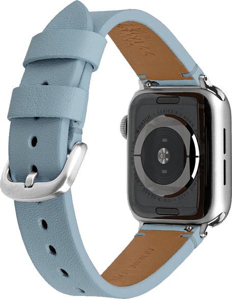 ARTWIZZ WatchBand Leather, Ersatzarmband, Apple, Watch Series 1-3 (38mm) & Watch Series 4 (40 mm), Light Blue