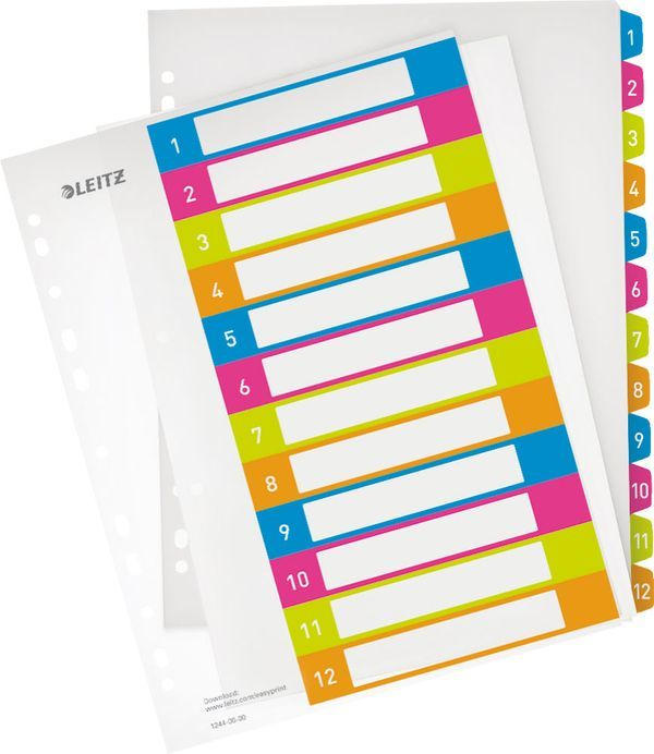 "LEITZ Register ""WOW"" 12 Blatt DIN A4 Zahlen 1-12"