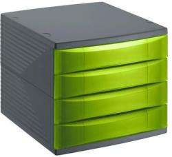 """ROTHO Bürobox """"Quadra"""" A4 4 Laden grün"""