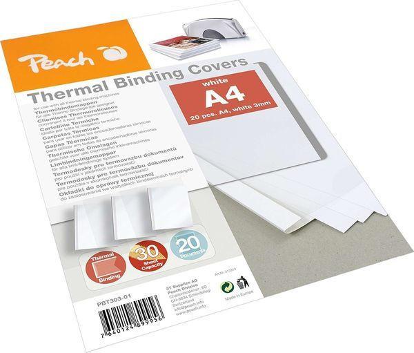 PEACH Thermobindemappen für 30 Blätter A4 20 Stück weiß