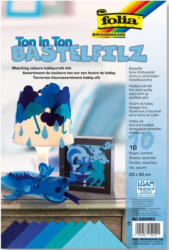 """FOLIA Bastelfilz """"Ton in Ton"""" 10 Bögen 20 x 30 cm blau"""