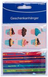 """Geschenksangänger 4er Pack """"Happy Birthday und Cupcakes"""""""