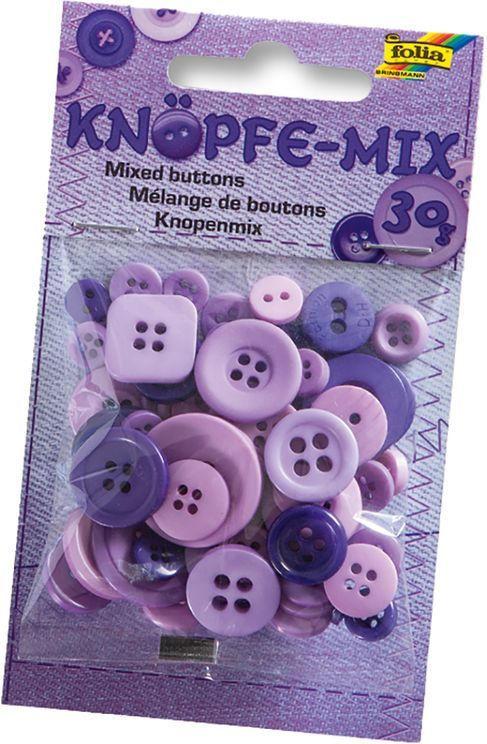 FOLIA Knöpfe-Mix 30 g lila