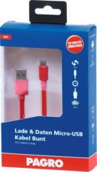 PAGRO Lade & Daten Micro-USB Kabel 2 m rot