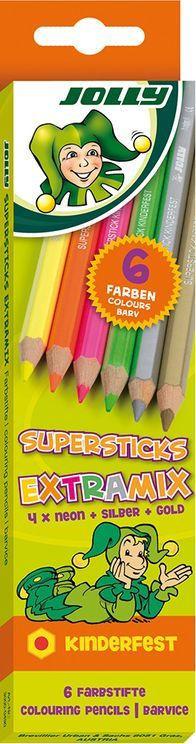 """JOLLY Buntstifte """"Supersticks"""" kinderfest 6 Stück neonmix"""