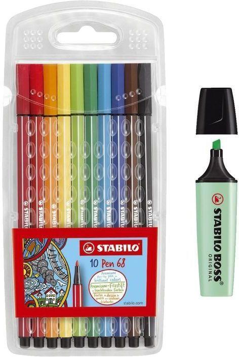 """STABILO Fasermaler """"Pen 68"""" 10 Stück mehrere Farben inkl. Leuchtmarker """"BOSS"""""""