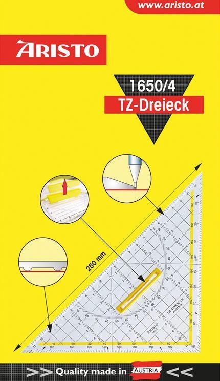 """ARISTO TZ-Dreieck """"1650/4"""" mit Griff 25 cm transparent"""