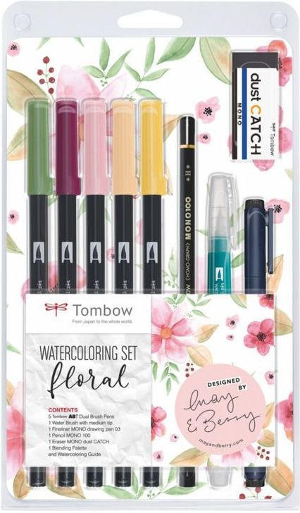 "TOMBOW Watercoloring-Set ""Floral"" 11 Teile"