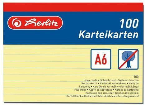 HERLITZ Karteikarten A6 liniert 100 Stück gelb