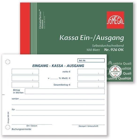 OMEGA DRUCK Kassaein-/Ausgangsbuch A6 quer 100 Blatt