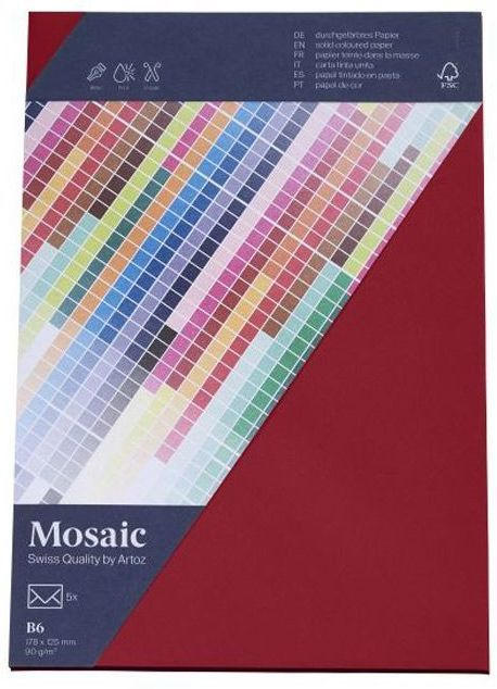 MOSAIC Kuverts B6 5 Stück weinrot