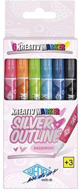 """WEDO Kreativmarker """"Silver + Outline"""" 6 Stück mehrere Farben"""