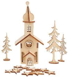 """RAYHER Holzbausatz """"Weihnachtskirche"""" 37 Teile natur"""