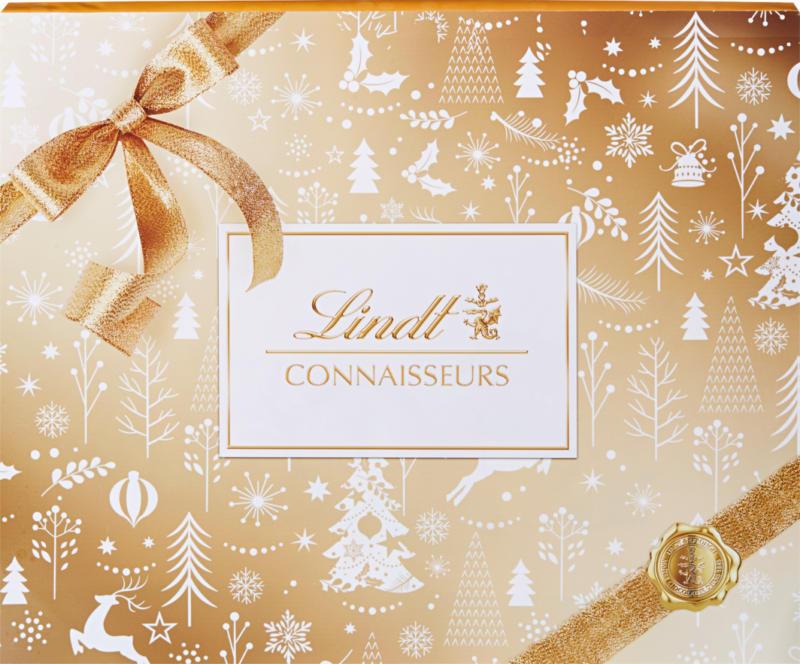 Lindt Connaisseurs Pralinés Gold & White Christmas, 445 g