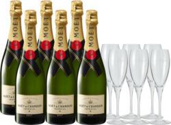 Moët & Chandon Impérial brut Champagne AOC, Champagne, Frankreich, 6 x 75 cl, 6 Gläser inklusive