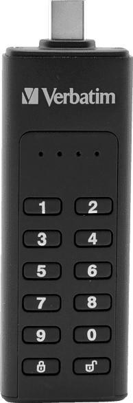 VERBATIM Keypad Secure USB-Stick, Schwarz, 64 GB