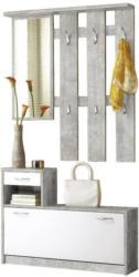 Garderobe Vera B: 100 cm Grau / Weiß