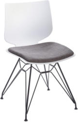 Stuhl in Metall, Kunststoff Anthrazit, Schwarz, Weiß