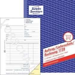 """AVERY ZWECKFORM Auftrags-, Lieferschein- und Rechnungsbuch """"1739"""" DIN A5 2 x 40 Blatt weiß"""