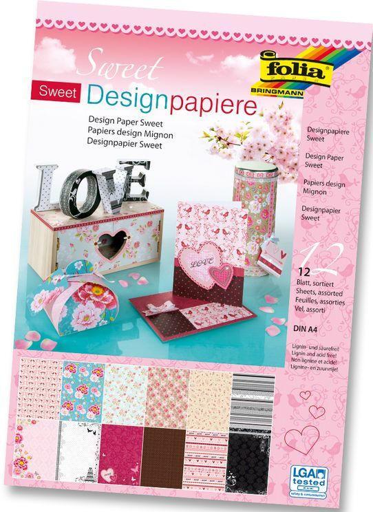 """FOLIA Designpapierblock """"Sweet"""" A4 150g 12 Blatt"""