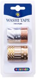 Washi Tape Set 6 Stück mit Metallic-Effekt bunt