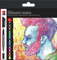 "MARABU Permanentmarker ""Graphix"" 12 Stück mehrere Farben"