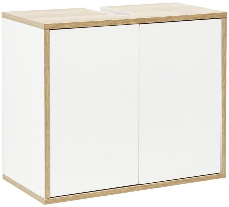 Waschbeckenunterschrank Finn B:60cm Weiß/Eiche Dekor