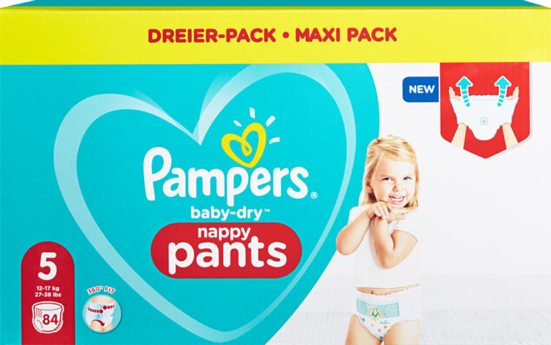 Pampers Baby-Dry Pants , Taille 5 (Junior), 12-17 kg, 84 pièces
