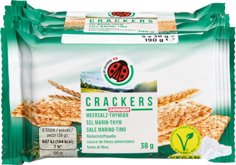 Crackers IP-SUISSE , Sel marin-Thym, 5 x 38 g