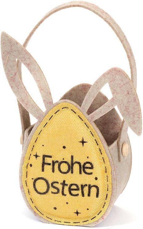 """Ostertäschchen """"Frohe Ostern"""" 24 cm braun/gelb"""