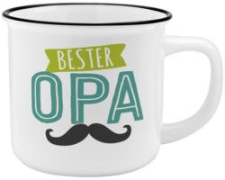 """Porzellantasse in Emailleoptik """"Bester Opa"""" 0,35 Liter weiss"""