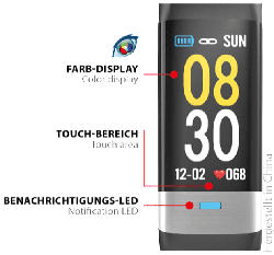 SWISSTONE  SW 620 ECG Smartwatch, Thermoplastisches Polyurethan, 215 mm, Schwarz