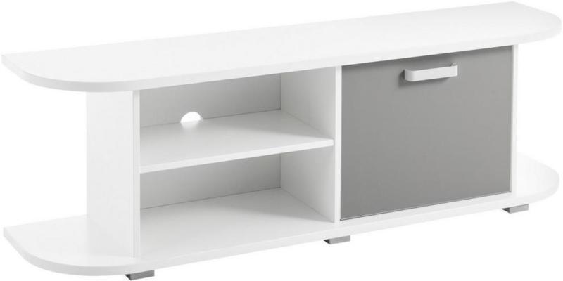 TV-Lowboard Yoris B: 141,6 cm Weiß, Grau