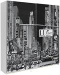 Möbelix Schwebetürenschrank 170cm Plakato City, Weiß/Schwarz