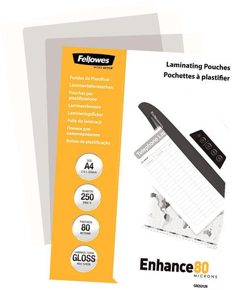 FELLOWES A4, 80 Mikron, glänzend
