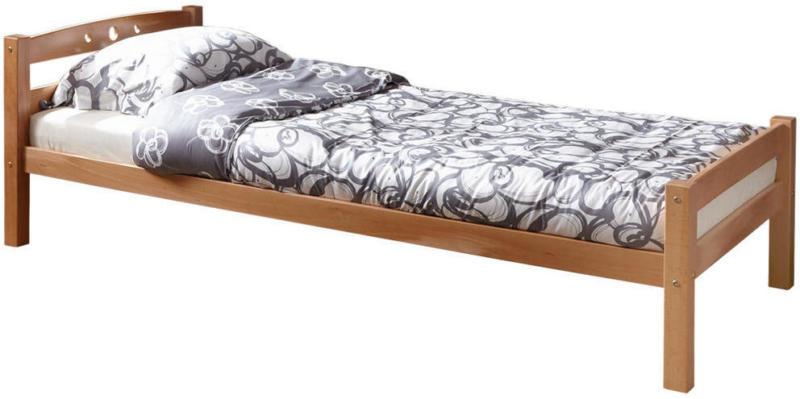 Bett 90/200 cm in Buchefarben