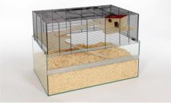 Nagerheim Hamsterkäfig aus Glas/Gitter Falco 100