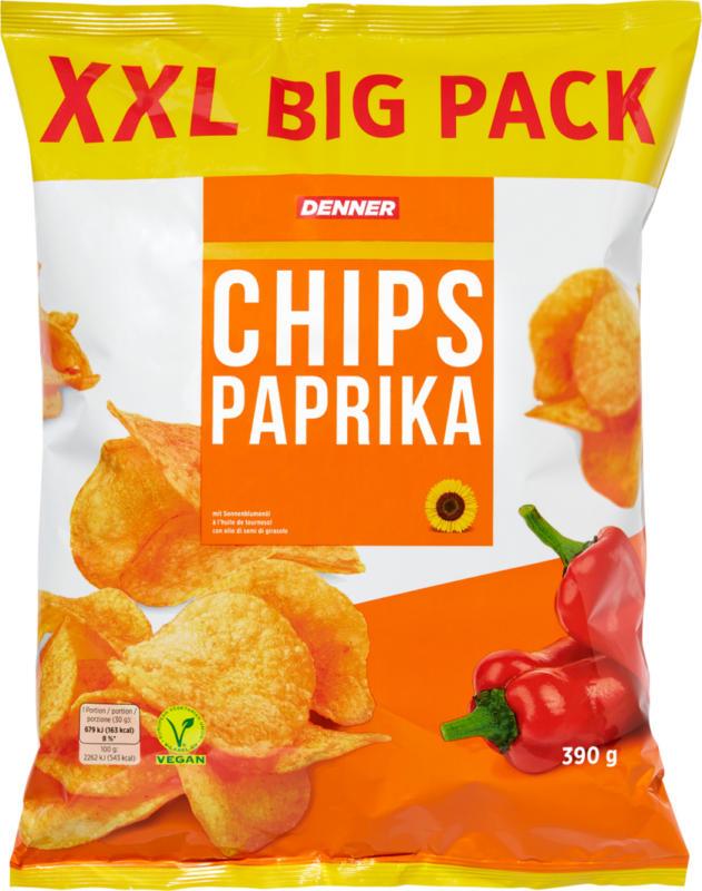 Denner Chips XXL Big Pack, Paprika, 390 g
