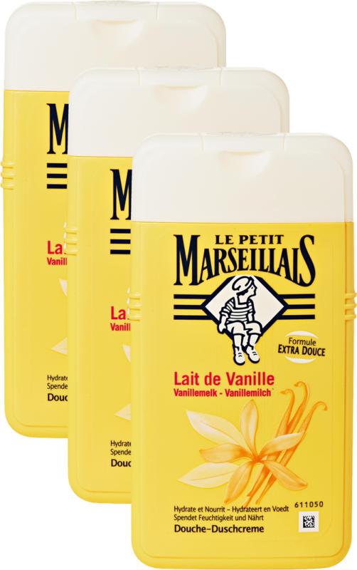 Crema doccia Le Petit Marseillais, Latte di vaniglia, 3 x 250 ml