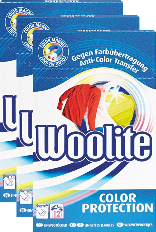 Woolite Einwegtücher Color Protection, 3 x 12 Tücher
