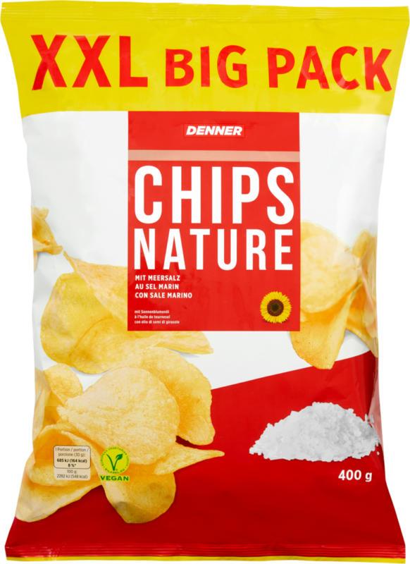 Denner Chips XXL Big Pack, Nature, 400 g