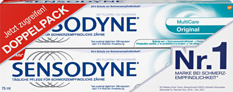Dentifrice Multicare Sensodyne, Original, 2 x 75 ml